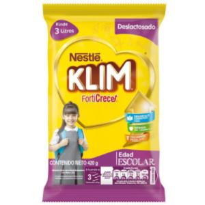 Alimento Lácteo en polvo Klim Forti Crece Deslactosado Bolsa X 420 Gramos