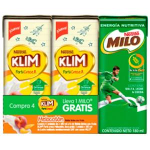 Leche Klim Liquida Forti-Crece melocotón Paquete X 4 Unidades 180 Ml  (Gratis Milo)