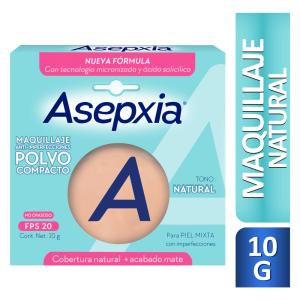 Asepxia Maquillaje anti-imperfecciones polvo compacto FPS 20 Natural Caja X 1 Unidad