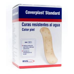 Curas Coverplast Standard Resistentes al Agua color piel Caja X 100 Unidades
