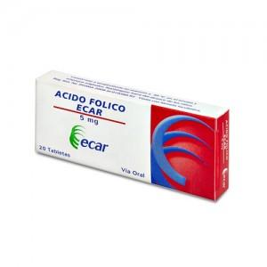 Ácido Fólico 5 Mg Caja X 20 Tabletas