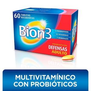 Bion-3 Probióticos defensas Adultos Frasco X 60 tabletas