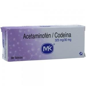 Acetaminofén + codeína 325Mg/30Mg Caja X 30 tabletas
